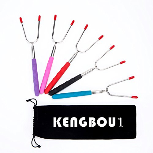 34-Inch Marshmallow Roasting Sticks, KENGBOU1 5 Piece Telescoping Smores Skewers & Hot Dog Fork with Carry Bag, Best Patio Fire Cooking Accessories for Campfires, BBQ, Bonfires by KENGBOU1