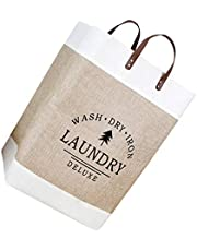 TOPBATHY Collapsible Laundry Basket Laundry Hamper with Handles Waterproof Round Cotton Linen Laundry Hamper Printing Household Organizer Basket Khaki