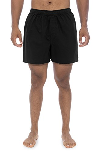 Texere Men's 100% Organic Cotton Boxers (Ilba, Black, XL) Gift for Dad