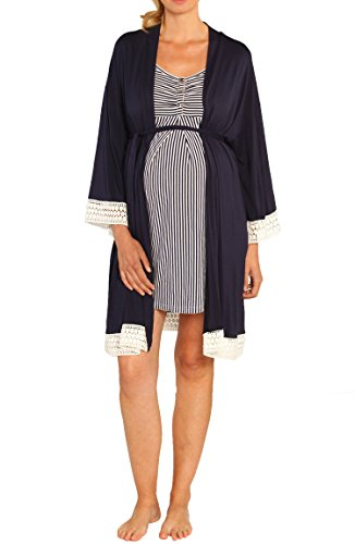 Angel Maternity Hospital Pack Nursing Dress Hospital Robe + Receiving Baby Blanket Maternity and Nursing Kit In Navy - XS Le Top Receiving Blanket