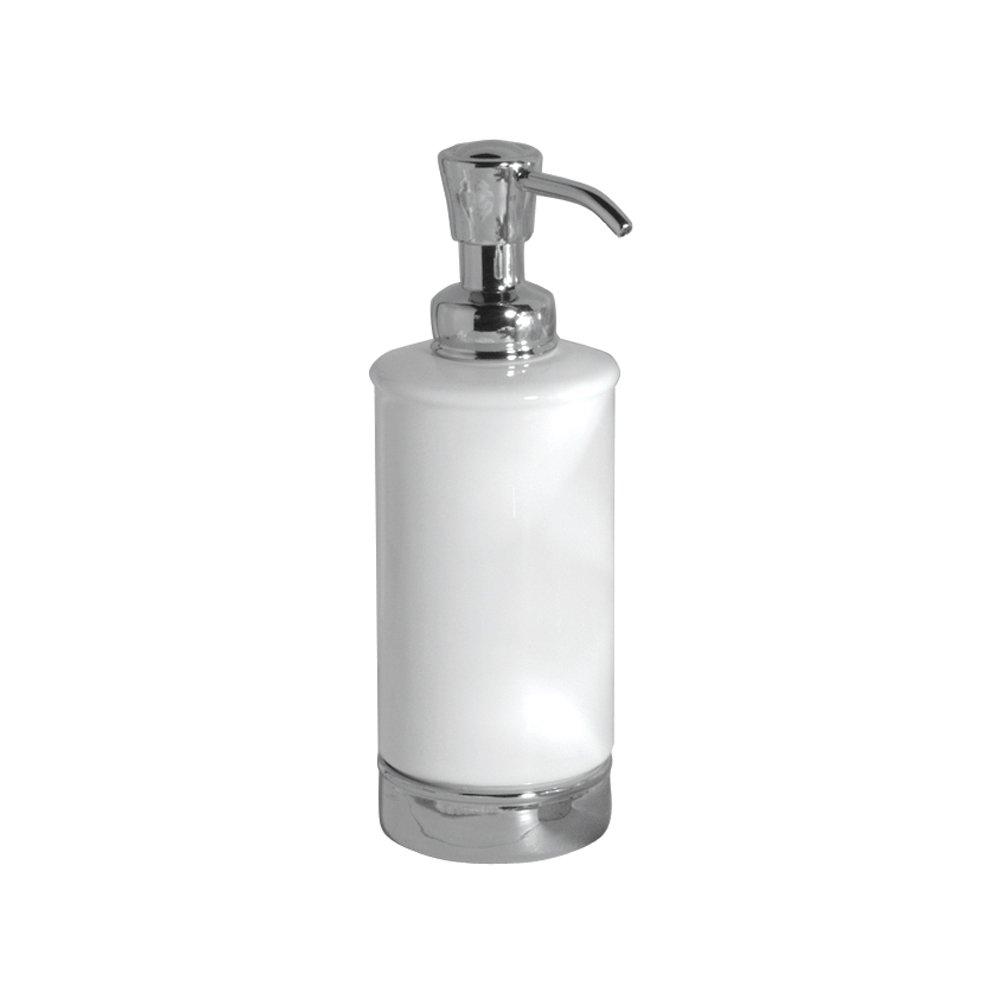 InterDesign York Ceramic Soap Dispenser Pump for Kitchen  Bathroom Vanities    White Chrome. InterDesign York Ceramic Toothbrush Holder Stand for Bathroom