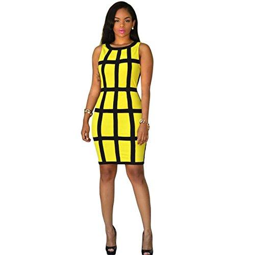 TIFENNY Women Sexy Dress Bandage Cocktail Sleeveless Bodycon Evening Party Dresses (XL, Yellow)