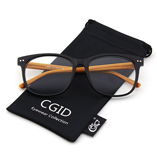 Happy Store CN81 Large Oversized Bold Frame UV 400 Clear Lens Horn Rimmed Glasses,Black - Clear Uv Glasses