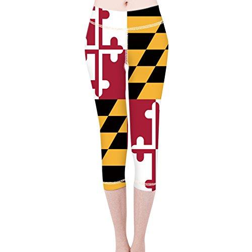 Women Maryland Flag Wide Waistband Fitness Workout Leggings