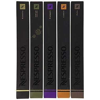 50 Nespresso Capsules: 10 Indriya, 10 Ristretto, 10 Roma, 10 Arpeggio, 10 Livanto