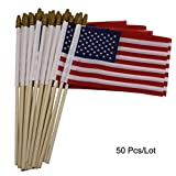 Huouo Pack of 50 US Small 4x6 Inch American Flags - Mini U.S.A. Hand Held Wooden Stick Flag with Kid Safe Spearhead