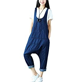 Yeokou Women's Loose Baggy Denim Wide Leg Drop Crotch Jumpsuit Rompers Overalls