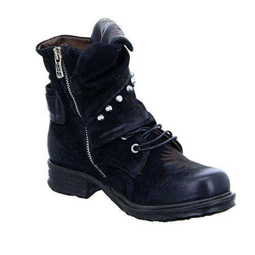 259233 Schwarz S A Leder Nieten Stiefelette Stiefel Nero Damen Blockabsatz Riemchen 98 Print BRwwp