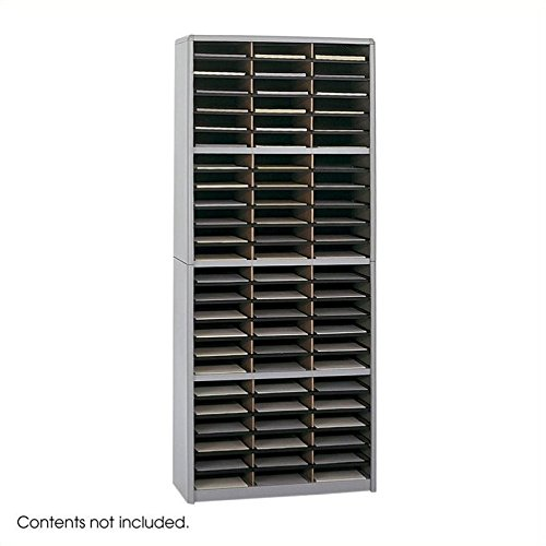 Safco Products Value Sorter Literature Organizer, 72 Compartment 7131GR, Grey, Commercial-grade Steel Shell, Fiberboard Shelves, ()