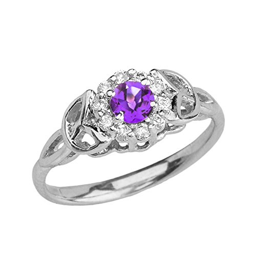 - Precious 14k White Gold Diamond and Amethyst Engagement/Proposal Ring (Size 12)