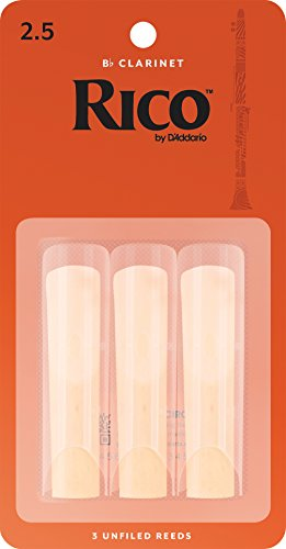 Rico Bb Clarinet Reeds, Strength 2.5, 3-pack (New Clarinet)