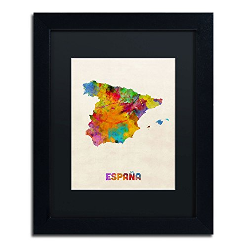 Spain Watercolor Map Art by Michael Tompsett in Black Frame, 11 by 14-Inch, Black Matte by Trademark Fine Art