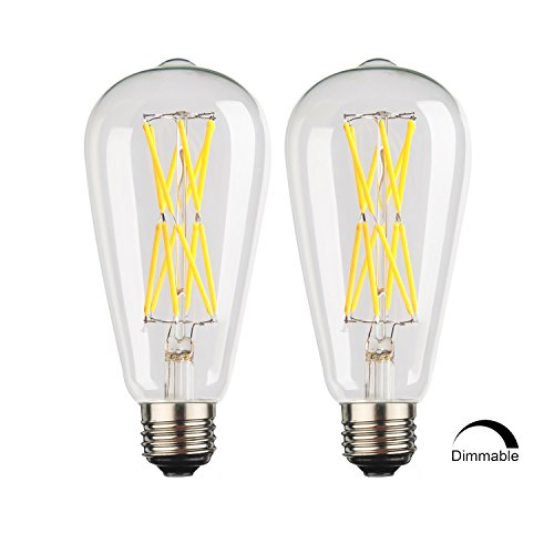 Outer Led Type (12W Led Filament bulb,Dimmable Edison Style Vintage LED Retro Light Bulb,100W Incandescent Replacement,Daylight White 4000K,1200LM, E26 Medium Base Lamp, ST21(ST64) Antique Shape.(2 Pack))