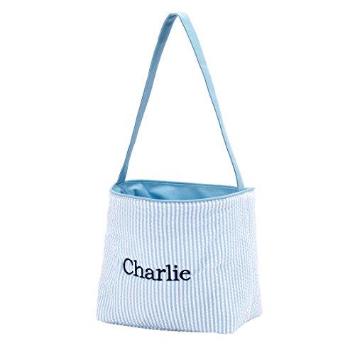 Seersucker Large Fabric Bucket Tote Bag (Personalized, Blue)