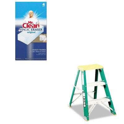 KITDADL321202PAG82027 - Value Kit - #624 Folding Fiberglass amp; Aluminum 2 Step Stool, Locking, 17w x 22 spread x 24h (DADL321202) and Mr. Clean Magic Eraser Foam Pad (PAG82027) by Louisville