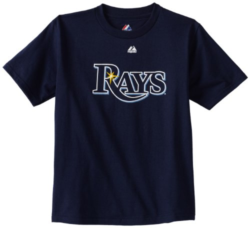 MLB Tampa Bay Rays Wordmark Basic T-Shirt Navy,Youth Medium
