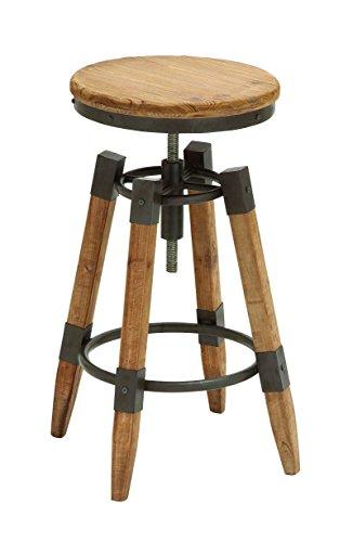 Bar Metallic Modern Stool - Benzara Wood Metal Adjust Bar Stool with Metallic Moldings, 14 by 14 by 25-Inch, Brown