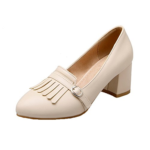 Fringed Shoes Toe Kitten Pu Beige Closed Heels Buckle Pumps WeiPoot Women's 0OxS6qwng