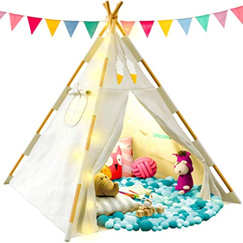 Image of the TazzToys Kids Teepee Tent for Kids with Fairy Lights - Kids Bedroom Set + Feathers + Waterproof Base - Kids Floor Cushions