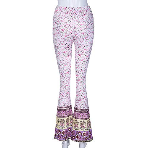 Pant For Women, Pervobs Womens Casual High-Waist Floral Print Sports Bell-bottoms Harem Yoga Wide Leg Pants(XL, Pink) by Pervobs Women Pants (Image #3)