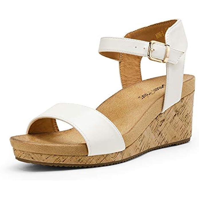DREAM PAIRS Women's Open Toe Buckle Ankle Strap Platform Wedge Sandals