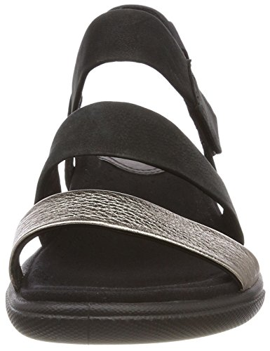 ECCO Damara Sandal, Sandalias con Punta Abierta Para Mujer Negro (Warm Grey/black)