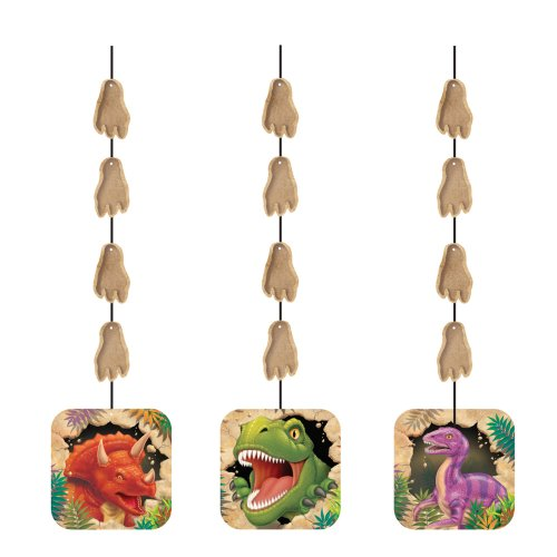 Dangling Cut Out Decorations (Creative Converting Dino Blast 3 Count Hanging Cutouts Party Decoration)