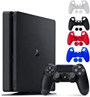 Sony Console Playstation 4-1TB Slim Edition Jet Black - PS4 with 1 DualShock Wireless Controller - Family Holi