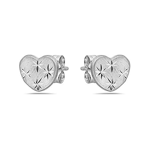 (Pori Jewelers 14K Solid Gold Heart Stud Earrings - Butterfly Backings (Star Cut White))