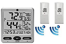 Ambient Weather WS-08-X2 Wireless Indoor/Outdoor 8-Channel Thermo-Hygrometer with Daily Min/Max Display with Two Remote Sensors