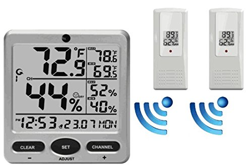 Ambient Weather WS-08-X2 Wireless Indoor/Outdoor 8-Channel Thermo-Hygrometer with Daily Min/Max Display with Two Remote ()