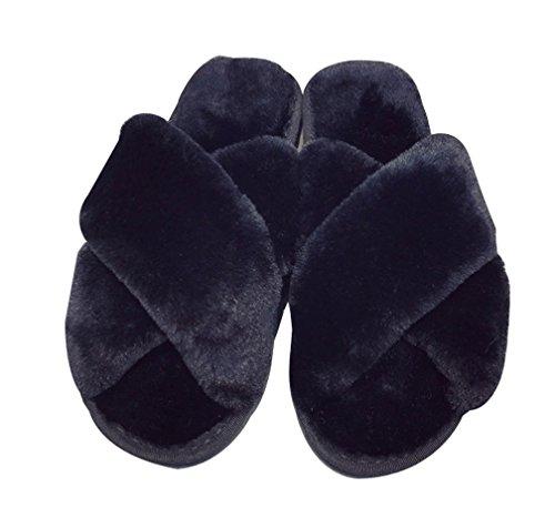Cattior Womens Comfy Bedroom Slippers Indoor Ladies Sexy Slippers Open Toe Black ocdia