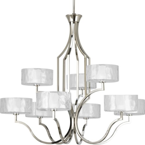 Progress Lighting P4646-104WB Caress Collection 9-Light Chandelier, Polished Nickel