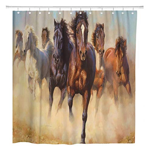 - ArtSocket Shower Curtain Wild Running Horses Home Bathroom Decor Polyester Fabric Waterproof 72 x 72 Inches Set with Hooks