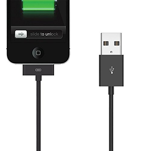 good 30 Pin Cable, 6ft iPad/iPod Dock 30 Pin Connector to USB Cable Charging Cord Cables for iPhone 4/4s, iPhone 3G/3GS, iPad 1/2/4, iPod (Black)