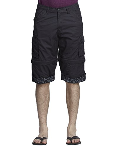 BEEVEE Mens DKOlive solid detachable cargo three-fourth length shorts, Dark Olive, 3X Big