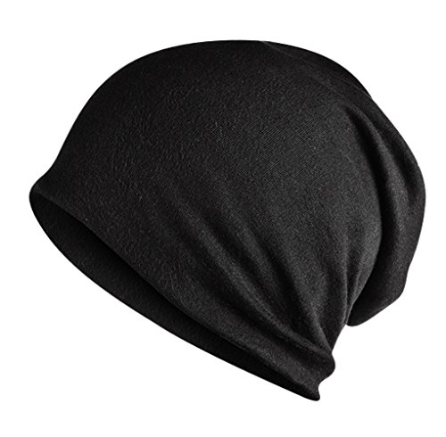 Home Prefer Men's Slouchy Beanie Soft Cotton Long Beanie Sleep Beanie Black ()