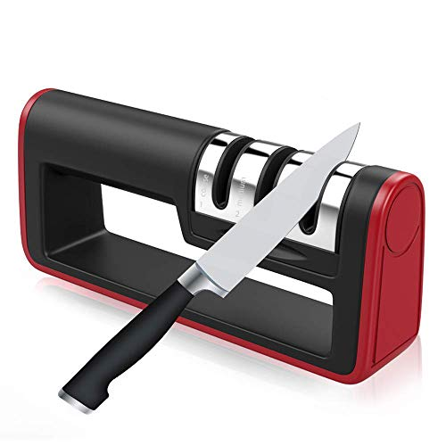 Sanpanie Kitchen Pocket Knife Sharpener 3 Stage Diamond Coated Best Safe Rod Sharpening Kit Tool with Cutlery Whetstone Handheld Polish Blades Manual Suit Non-slip Base for Fruit Chef Dull Knives