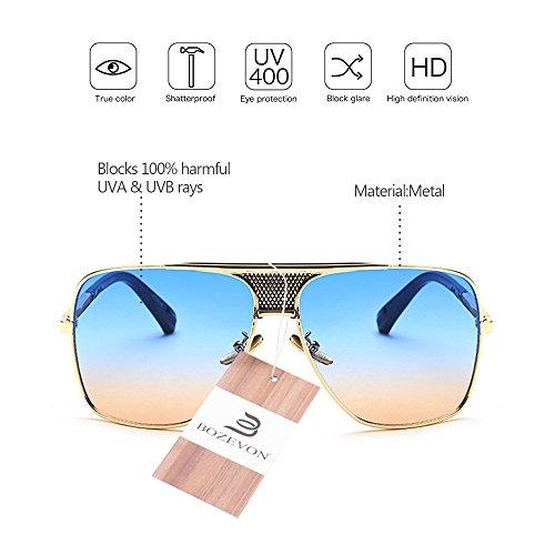 Aire Metálico de de la Vendimia sol la Marco Alta de al BOZEVON Estilo UV400 Hombres calidad 08 Protección Libre Gafas del wtxqpA0