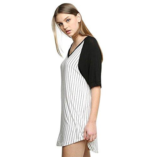 Chicnova Women's Summer Striped Oversized Baseball T Shirt Top Loose Dress (M)