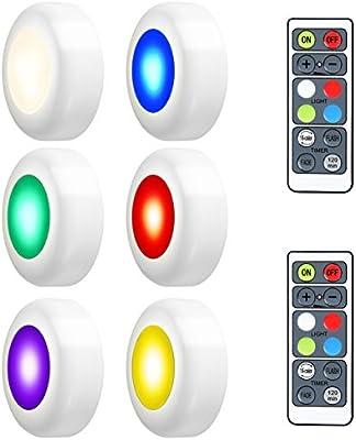 LEDGLE Luces LED de Armario, Luces LED de Noche 3W Ajustable Sin Cable con Control Remoto Para Habitación, Pasillos, Escaleras
