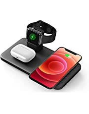 Seneoes Qi Wireless Charging Station, Fast 3 in 1 Wireless Charger, Compatible with iPhone/12/12 Pro/11/SE/X/XR/XS/XS Max/8 Plus, Pods Pro/2, iWatch SE/6/5/4/3/2(No Adapter/iWatch Cable)