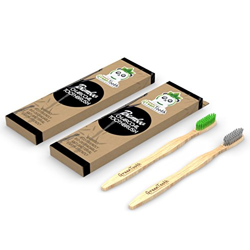 Bamboo Charcoal Infused Toothbrush, Eco-Friendly, Soft & Medium