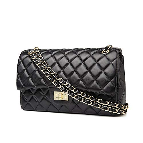Classic Shoulder Bag Leather Crossbody Messenger Quilted Flap Bag for Womens & Girls Fashion (Large black-gold leather chain)