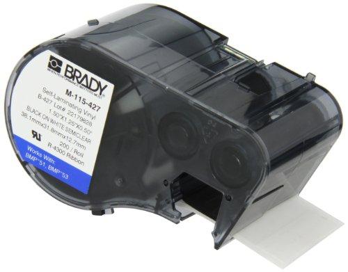 Brady Colored Labels (Brady M-115-427 Vinyl B-427 Black on White/Clear Label Maker Cartridge, 1-1/4