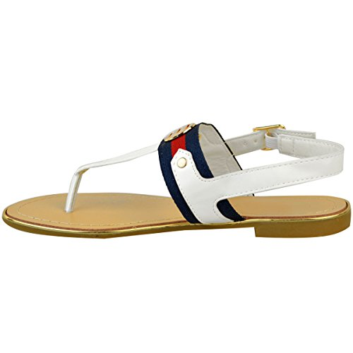Mode Törstig Kvinna Platt Klack Flip Flops Sommar Sandaler Tå Placera Stranden Skor Storlek Vit Konstläder