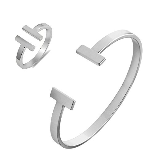 SENFAI Simple Double T Cuff Bracelet/Jewelry Set for Women (Bracelet + Ring, Rhodium-Plated-Brass) ()