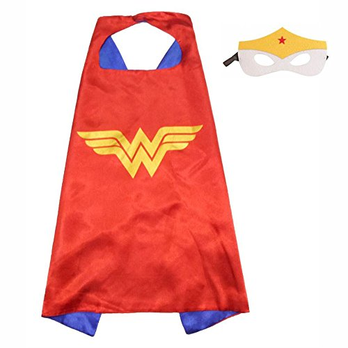 Simple Girl Costumes (FASHION ALICE Superhero Superman CAPE & MASK SET Adult, Mens, Womens Halloween Costume Cloak Kids Girl And Boy Cape and Mask Costume for Child Pretend Play, Dress Up,Parties (Wonder Woman))