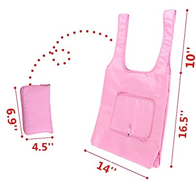 Yamde 2 Pcs Reusable Grocery Shopping Bag Tote Bag Folding Travel Recycle Bag Ripstop Nylon Tote Bag Foldable Integrated Pouch