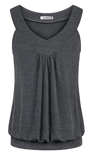 ts for Women, Pretty Round Neck Flared Hem Ruffle Front Loose Fitting Boho Tunics Female Vintage Classic Formal Striped Office Casual Loose Fitting Spring Clothing Dark Gray ()